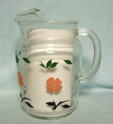 Anchor Hocking Clear w Pink Blossoms & Leaves Juice Pitcher w Ice Lip - Product Image
