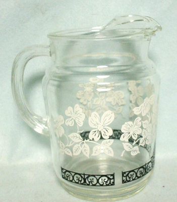 Anchor Hocking Clear w White Flowers & Leaves Juice Pitcher w Ice Lip - Product Image