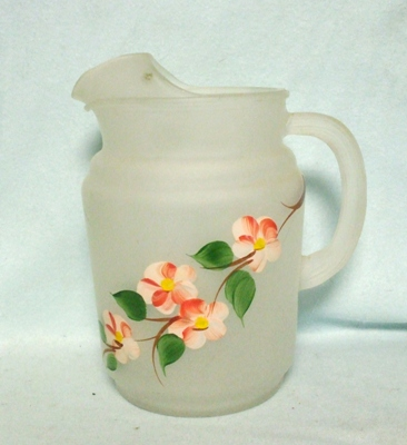 Anchor Hocking Frosted w Peach Blossoms Juice Pitcher w Ice Lip - Product Image