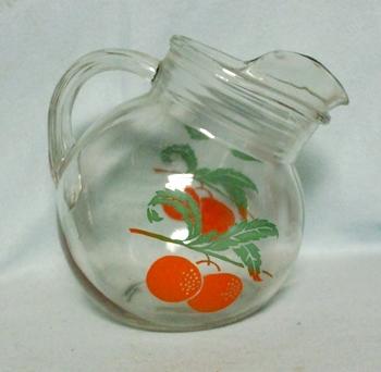 Anchor Hocking Orange Pattern Tilt Ball Juice Pitcher w Ice Lip - Product Image