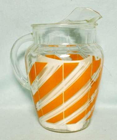 Anchor Hocking Orange and White Fiesta Stripe Pitcher w Ice Lip - Product Image