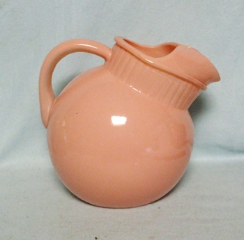 Anchor Hocking Pink Fired-on Rainbow Tilt Ball Juice Pitcher w Ice Lip - Product Image