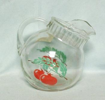 Anchor Hocking Tomato Pattern Tilt Ball Juice Pitcher w Ice Lip - Product Image