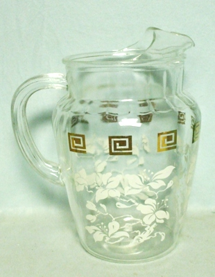 Anchor Hocking White Leaves w Greek Key Pitcher w Ice Lip - Product Image
