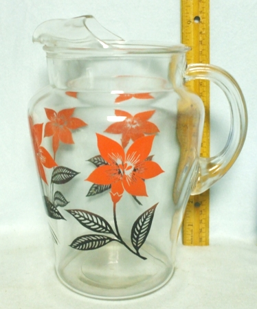 B.C. Clear with Pinkish Poinsettia's Pitcher w Ice Lip - Product Image