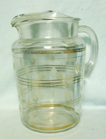 Barlette Collins Clear w Gold Diamonds and Stripes Pitcher w Ice Lip - Product Image