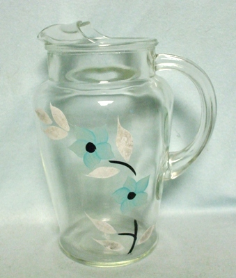 Bartlette Collins Turquoise Flowers w White Leaves Juice Pitcher w Ice Lip - Product Image