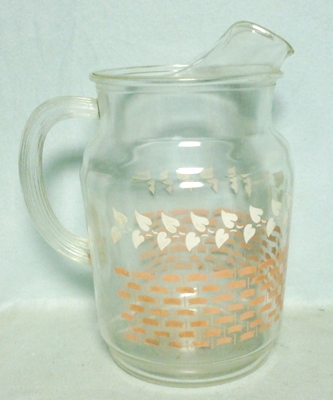 Bartlette Collins White Leaves & Pink Lattice 80 oz.Pitcher w Ice Lip - Product Image