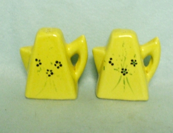 Ceramic Yellow Coffee Pot Salt & Pepper w Design - Product Image