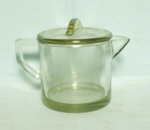 Clear Glass Round Syrup Pitcher w Lid - Product Image