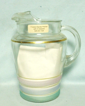 Federal Green,Blue & White Frosted bands 86 oz.Pitcher w Ice Lip - Product Image