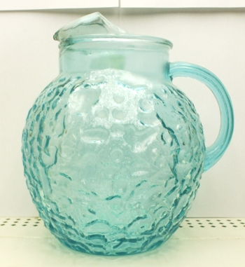 Fire king Lido Aquamarine 80oz.Upright Ball Pitcher - Product Image