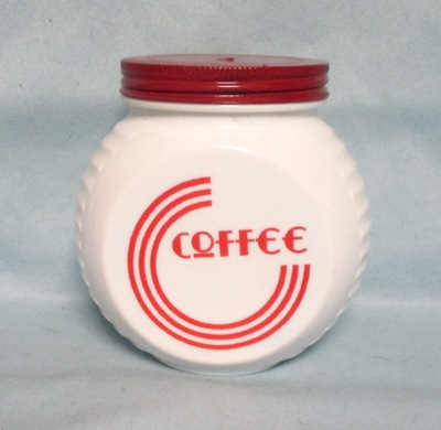 Fire king Red Circles on Vitrock Coffee Jar w Screw-on Lid - Product Image