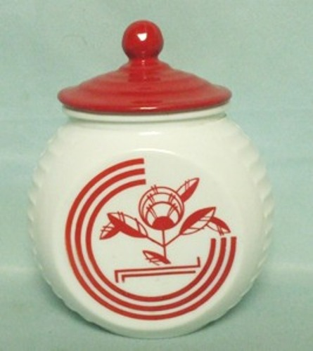 Fire king Red Circles on Vitrock Grease Jar - Product Image