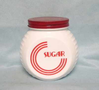Fire king Red Circles on Vitrock Sugar Jar w Screw-on Lid - Product Image