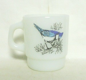 Fireking Blue Jay & Cardinal Bird Stackable Mug - Product Image