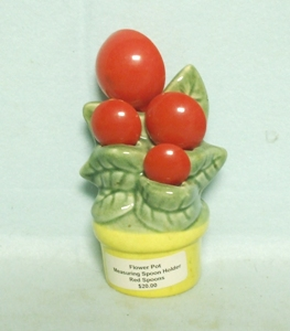 Flower Pot Ceramic Measuring Spoon Holder W Red Plastic Spoons - Product Image