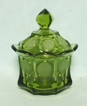 Fostoria Green Coin Glass Sugar Bowl w Cover - Product Image