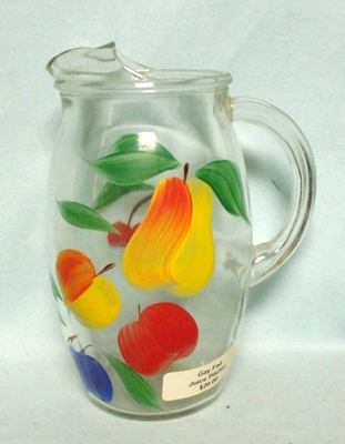 "Gay Fad/Bartlette Collins Pear,Peach,Apple,& Plum Barrel Shaped 7 1/2""Juice Pitcher - Product Image"