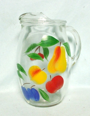 """Gay Fad/Bartlette Collins Pear,Peach,Apple,& Plum Barrel Shaped 8 1/2"""" Pitcher - Product Image"""
