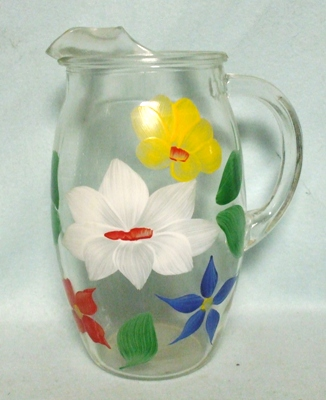 """Gay Fad/Bartlette Collins Red,Blue,White,& Yellow Flowered Barrel Shaped 7 1/2""""Juice Pitcher - Product Image"""