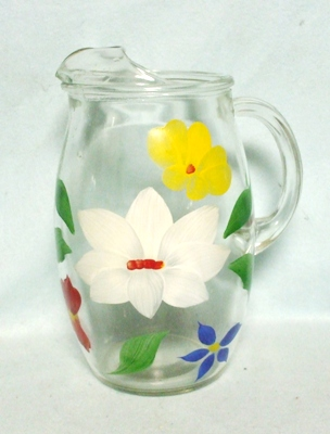 """Gay Fad/Bartlette Collins Red,Blue,White,& Yellow Flowered Barrel Shaped 8 1/2"""" Pitcher - Product Image"""