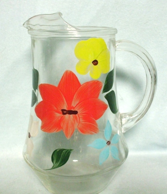 """Gay Fad/Bartlette Collins Red,Yellow,White,& Turquoise Tapered 7 1/2""""Juice Pitcher - Product Image"""