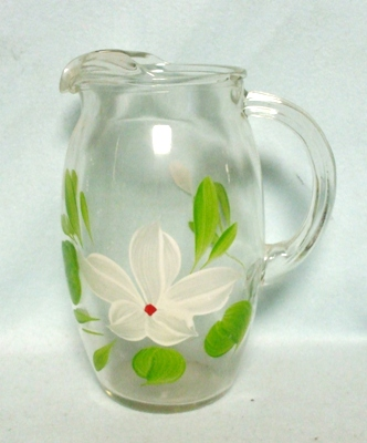 """Gay Fad/Bartlette Collins White Flowered Barrel Shaped 7 1/2""""Juice Pitcher - Product Image"""