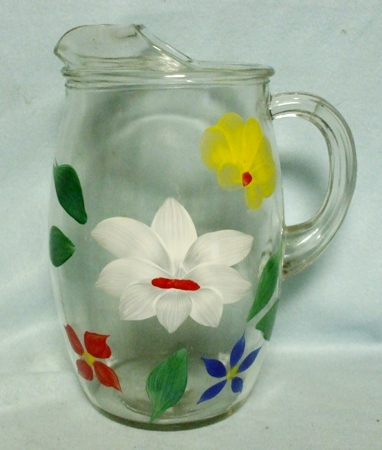 """Gay Fad/Bartlette Collins White,Yellow Red & Blue Flowered Barrel Shaped 9 1/2""""Pitcher - Product Image"""