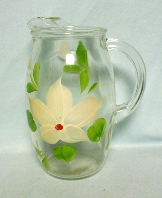 """Gay Fad/Bartlette Collins Yellowish Flowered Barrel Shaped 7 1/2""""Juice Pitcher - Product Image"""