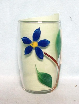 "Gay Fad Clear w Blue Poinsetta Barrel Shaped 4"" Glass - Product Image"