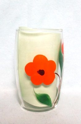 "Gay Fad Clear w Orange Flower Barrel Shaped 4 1/2"" Glass - Product Image"
