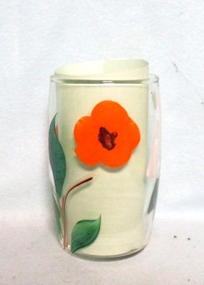 "Gay Fad Clear w Orange Flower Barrel Shaped 4"" Glass - Product Image"