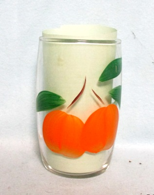 "Gay Fad Clear w Oranges Barrel Shaped 4"" Glass - Product Image"