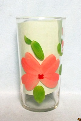 "Gay Fad Clear w Pink Flower 5 1/4"" Water Glass - Product Image"