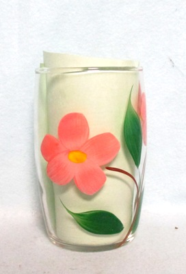 "Gay Fad Clear w Pink Flower Barrel Shaped 4"" Glass - Product Image"