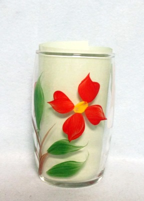 "Gay Fad Clear w Red Poinsetta Barrel Shaped 4"" Glass - Product Image"