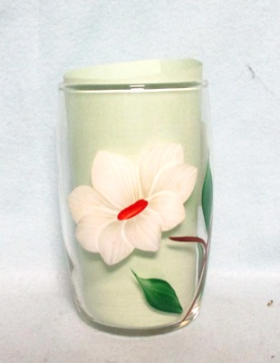 "Gay Fad Clear w White Flower Barrel Shaped 4"" Glass - Product Image"