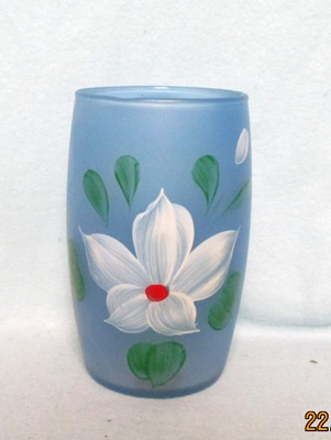"Gay Fad Frosted Blue w White Flower Barrel Shaped 5 1/2"" Glass - Product Image"