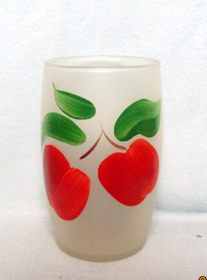 "Gay Fad Frosted Red Apples Barrel Shaped 5 1/2"" Glass - Product Image"
