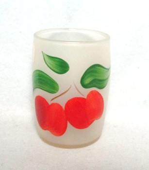 "Gay Fad Frosted Roly Poly Apples 3"" Juice Glass - Product Image"