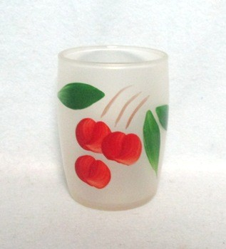 "Gay Fad Frosted Roly Poly Cherries 3"" Juice Glass - Product Image"