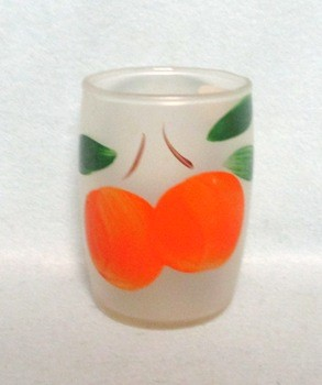 "Gay Fad Frosted Roly Poly Oranges 3"" Juice Glass - Product Image"