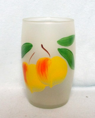 "Gay Fad Frosted Yellow Peaches Barrel Shaped 5 1/2"" Glass - Product Image"