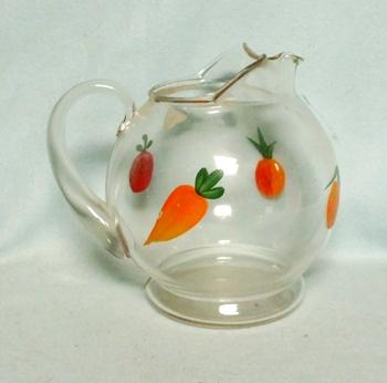 "Gay Fad/Macbeth-Evans Corning Orange,Peach,Tomato,& Carrot 6""Juice Pitcher - Product Image"