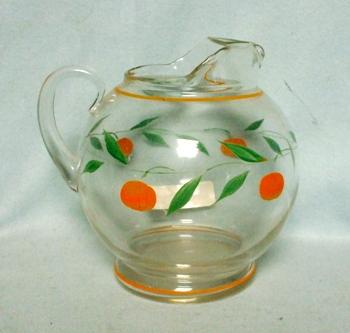 "Gay Fad/Macbeth-Evans Corning Oranges & Leaves 5 1/2""Juice Pitcher - Product Image"