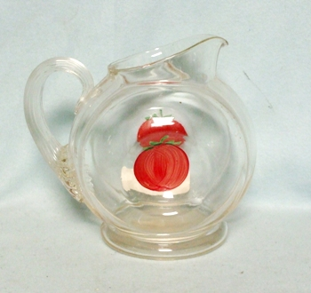 """Gay Fad/Macbeth-Evans Corning Tomato in Center 5 1/2""""Juice Pitcher - Product Image"""