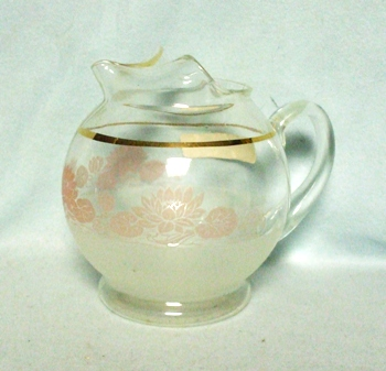 """Gay Fad/Macbeth-Evans Corning w Pink Water Lilies 5 1/2""""Juice Pitcher - Product Image"""