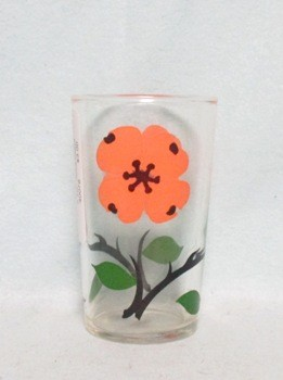 "Gay Fad Pink Flower w Green Leaves 3 1/2"" Juice Glass - Product Image"