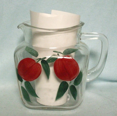 """Gay Fad Red Plums Square 5 1/2""""Juice Pitcher - Product Image"""